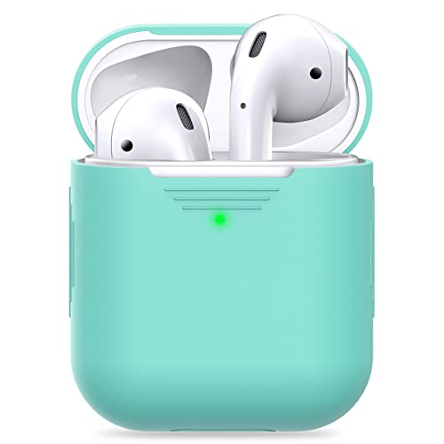 PodSkinz AirPods 2 & 1 Case [Front LED Visible] Protective Silicone Cover and Skin Compatible with Apple AirPods (Without Carabiner, Diamond Blue)