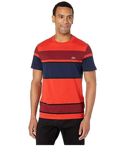 Lacoste Short Sleeve Color Block Jersey T-Shirt (Salvia/Black/Pinot/Navy Blue) Men