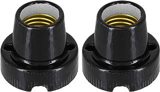 Pack de 2 lámparas de cerámica de porcelana dura E27, color negro básico, máx. 1000 W, por ejemplo, para terrarios.