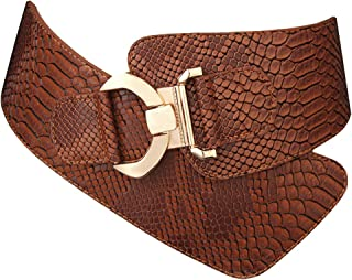 JASGOOD Women's Fashion Snake Pattern Wide Elastic Stretch Adjustable Waist Belt Waistband Red Suit Waist Halloween Belt