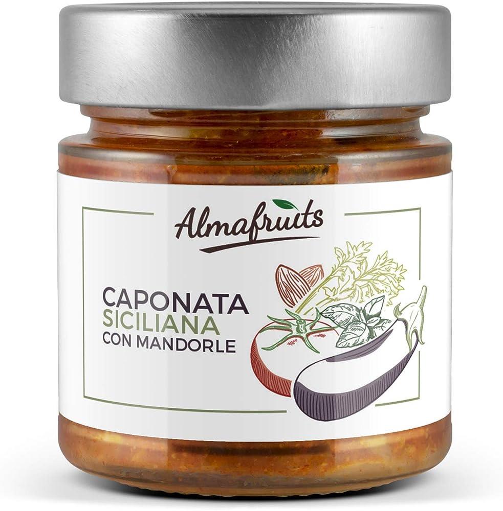 Caponata siciliana con mandorle tostate,240 g,prodotta in sicilia secondo la tradizione