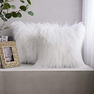 Phantoscope Pack of 2 Luxury Series Throw Pillow Covers Faux Fur Mongolian Style Plush Cushion Case for Couch Bed and Chair, White 22 x 22 inches 55 x 55 cm