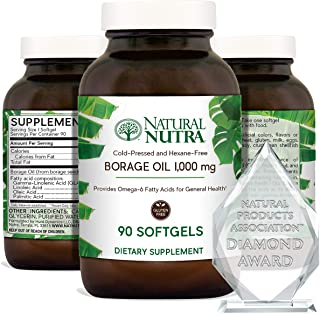 Natural Nutra Borage Oil, Omega 6 Essential Fatty Acids Supplement with GLA, Linoleic, Oleic and Palmitic Acid, Cold Press...