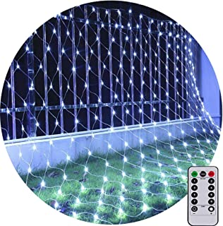 Net String Light Led Mesh Light Outdoor Tree Light 9.8ft x 6.6ft 200LED Connectable for Patio Lawn Garden backyard 8Mode with Remote Controll (White)