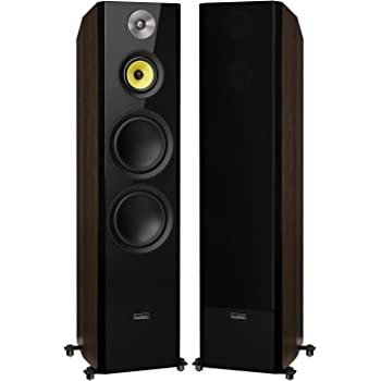 "Fluance Signature Series Hi-Fi Three-Way Floorstanding Tower Speakers with Dual 8"" Woofers (HFFW) Natural Walnut"