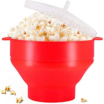 Microwaveable Silicone Popcorn Popper, BPA Free Collapsible Hot Air Microwavable Popcorn Maker Bowl, Use In Microwave or Oven (Red)