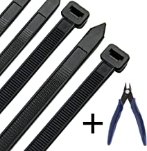 Honyear 24 Inch Cable Zip Ties Heavy Duty (with Wire Cable Cutters), Strong Large Black Zip Ties with 175 Pounds Tensile Strength, 50 Pack, Long Durable Nylon Black tie Wraps, Outdoor UV Resistant