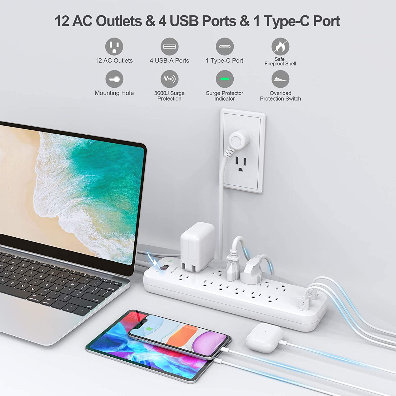Power Strip, Maxuni Surge Protector with 12 Outlets 4 USB Ports 1 Type-C Port, Heavy Duty 6FT Extension Cord(1875W/15A), Multi Plug for Multiple Devices Smartphone Tablet Laptop Computer, ETL Listed