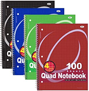 RamPro Quad-ruled Spiral Notebook 10-1/2 X 8 Inches, Assorted Colors, 100 Count (007) [4-Pack]