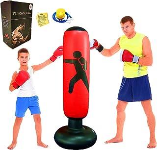 "FOYOCER Saco de Boxeo Hinchable de Niños Saco de Arena Inflable de Pie para Practicar Karate MMA Bolsa de Boxeo Fitness para Nniños 61""(Bomba de Aire & Pegatinas de Reparación Incluidas)"