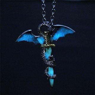 DUANMEINAD Glow in The Dark Dragon Sword Necklace Luminous Pendant Punk Titanium Steel Dragon Sword Wing Pendant Necklaces