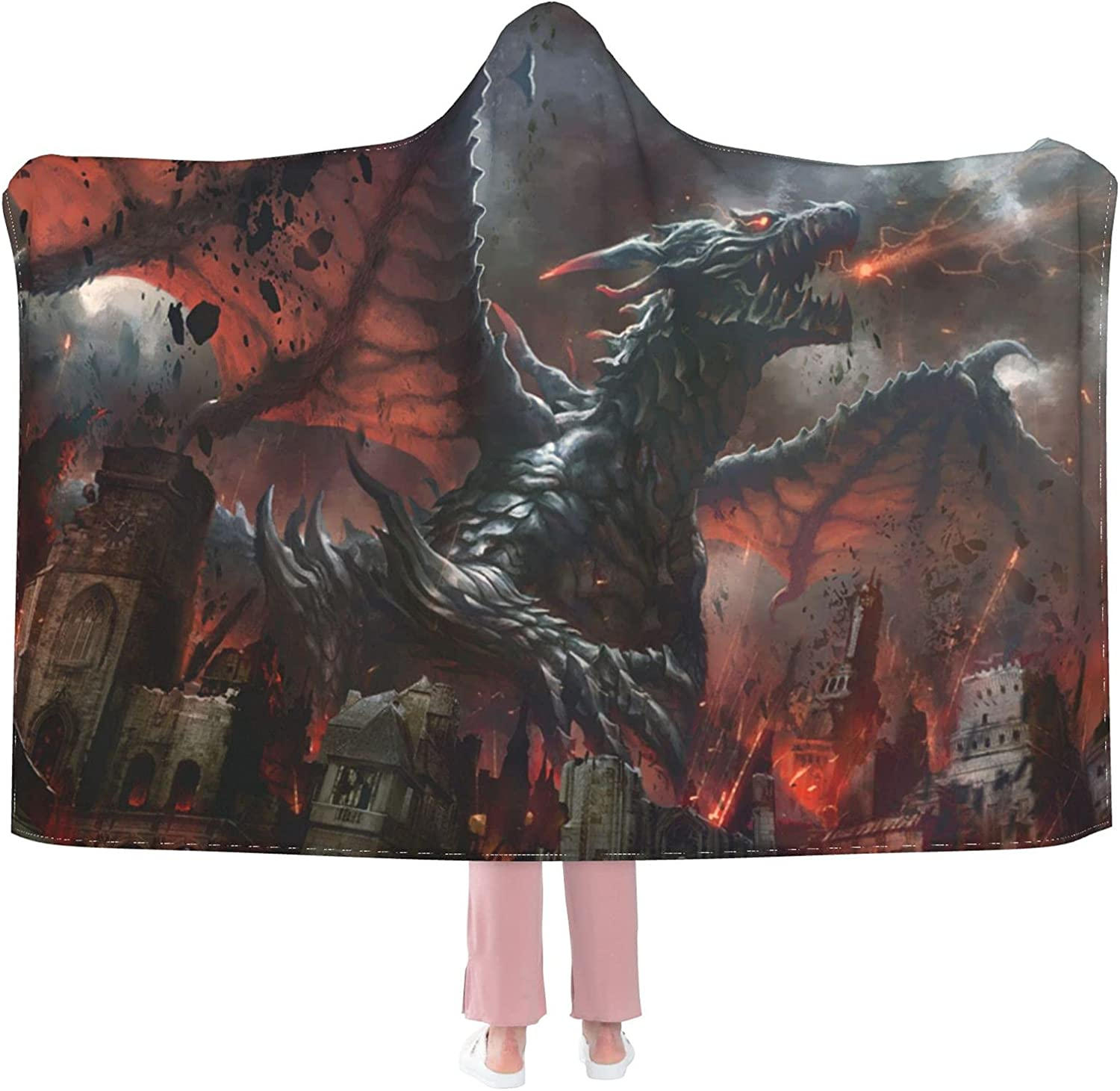 Red Dragon and Human All items free shipping War Hoode Blanket Max 60% OFF Wearable Flannel