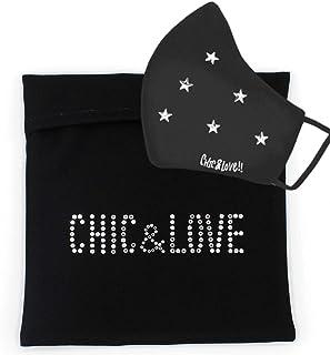 CHIC&LOVE | PortaMascarillas Negro con Cristales Brillantes | Neceser Portátil para Almacenar y Proteger tu Mascarilla en ...
