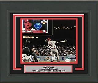Framed Autographed/Signed Matt Stairs Moon Shot Philadelphia Phillies 8x10 Baseball Photo JSA COA