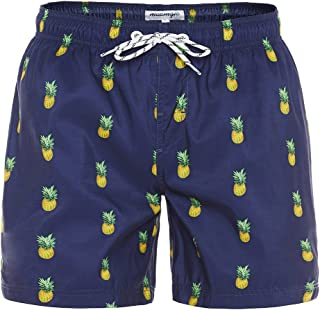 MaaMgic Mens Slim Fit Quick Dry Short Anchor Swim Trunks with Mesh Lining