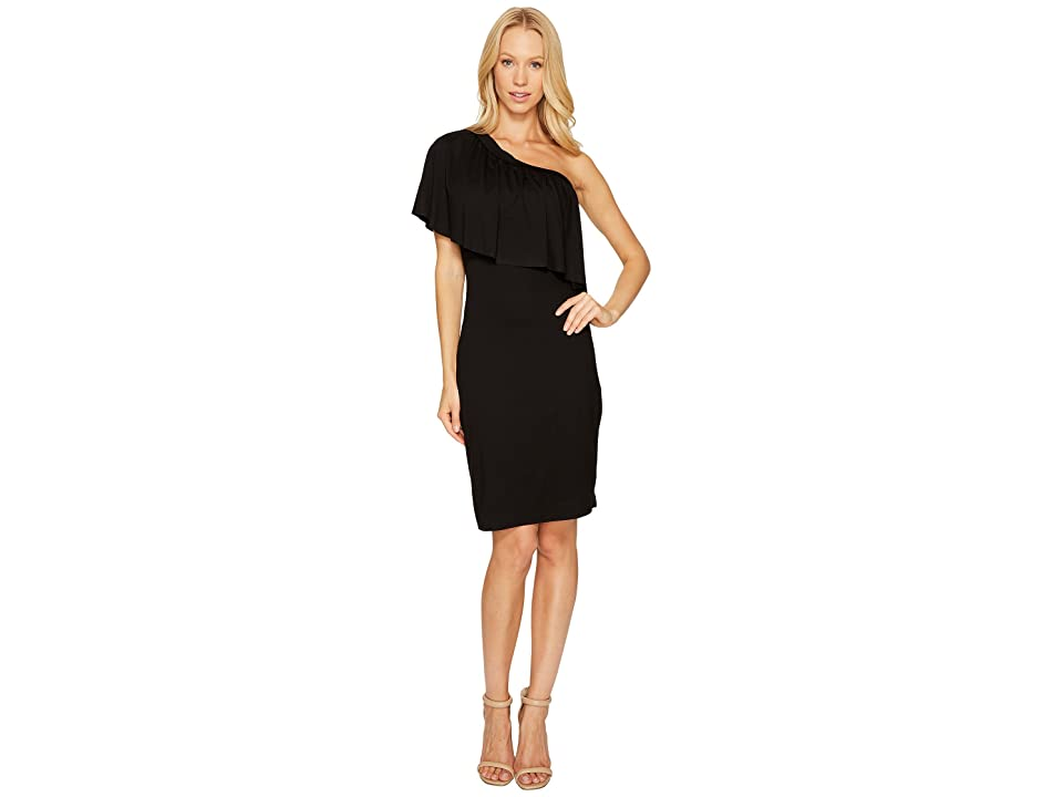 Three Dots One Shoulder Ruffle Dress (Black) Women