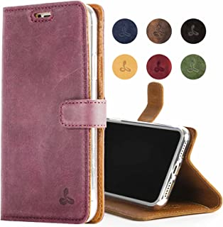 Snakehive iPhone 8 Plus, Genuine Leather Wallet with Viewing Stand and Card Slots, Flip Cover Gift Boxed and Handmade in Europe for iPhone 8 Plus - (Plum)