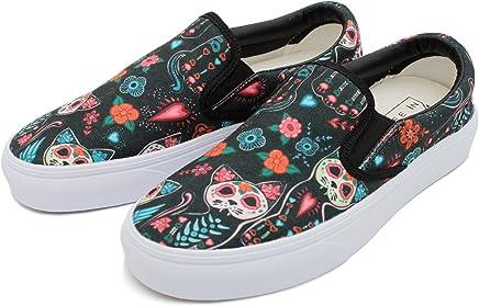 b7db90124b5 cozyshoeson Women Love cat Skull Beautiful Flowers Canvas Slip-On Shoes  Sneaker White