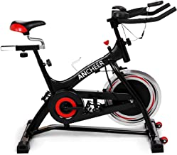 ANCHEER Indoor Cycling Bike Stationary, Quiet Smooth Belt Drive System Flywheel Exercise Bike with Heart Rate, LCD Monitor, Adjustable Seat and Handlebars & Base for Home Workout