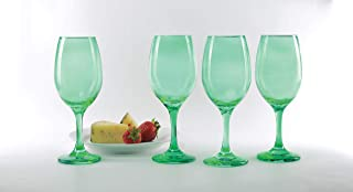 Circleware 44836 Uptown Wine Glasses, Set of 4 All-Purpose Elegant Entertainment Party Beverage Glassware Drinking Cups for Water, Juice, Beer, Liquor, Whiskey and Bar Dining Decor, 13 oz, Emerald