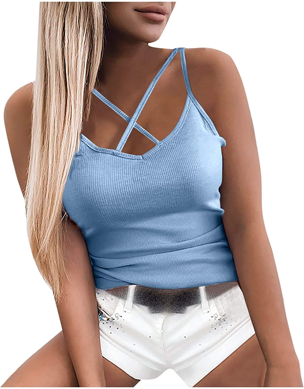 ML_Victor Crop Cami Tops for Women,Sexy Cross Strap Crop Tank Tops Solid Sleeveless Camisole Vest Slim Fit Shirt Tees