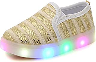 844cd9fe6273 Otamise Girls  Light Up Sequins Shoes Slip-on Flashing LED Casual Loafers  Flat Sneakers