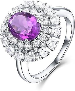 إي إل أونو 925 خاتم من الفضة الإسترلينية بيضاوي حجر المولد الطبيعي خواتم خطبة للنساء 1.74 قيراط
