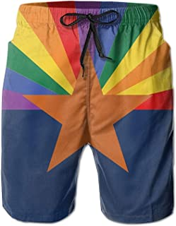 1f75a9061b38 fengxutongxue LGBT Arizona Flag Gay Pride Men Casual Drawstring Beach  Boardshorts Pants Pocket