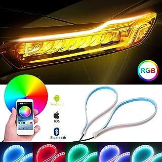 OPP ULITE Switchback Led Headlight Strip Light RGB Multi Color - APP Control - 7 Color - 24Inch Waterproof - Flexible Car ...