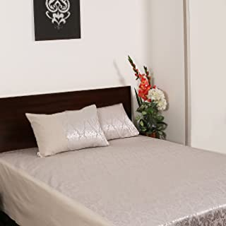 Home- The best is for you Cotton Jacquard Damask Woven/self Design Silver King Size Bed Cover/Bed Sheets Set with 2 Pillow Covers (Silver, Double)