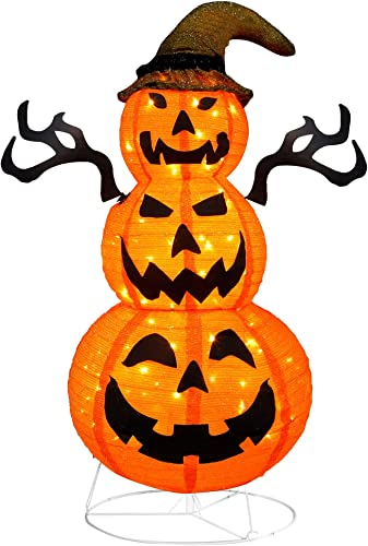 new arrival yosager Halloween Decorations, 4 FT Lighted Pop Up Jack-o-Lantern, Pre-Lit Light Up Stacked popular Pumpkins with 100 LED Warm White Lights, Collapsible Easily for Halloween popular Horror Indoor Outdoor sale