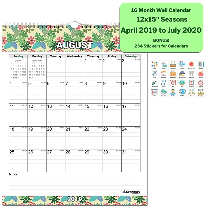 Wall Calendar 2019-2020 Academic Calendar (Seasons) 12x15 Inches Stunning Large Monthly Wall Calendar, 16 Months Use to July 2020, with Bonus Stickers, Hanging Office Calendar by Cranbury