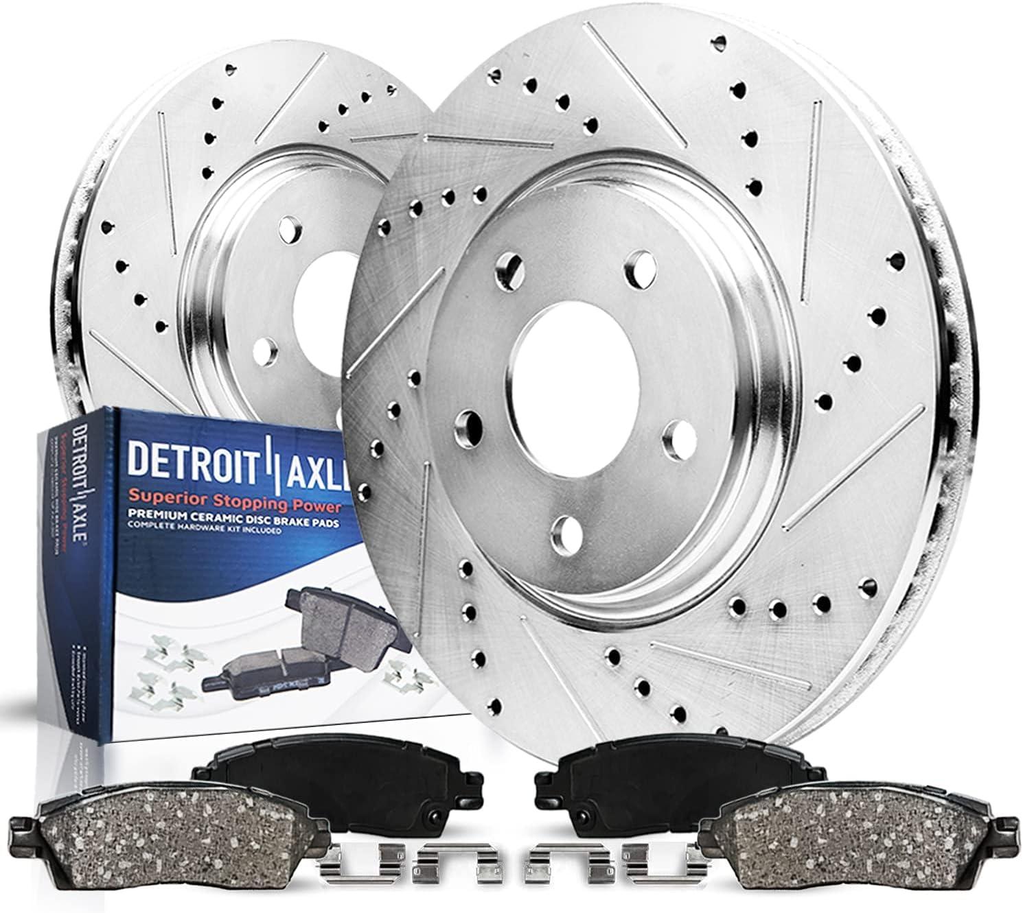 Detroit Axle - 296mm Front Drilled Ceramic 高品質 セール特価 Rep Pads Brake Rotors