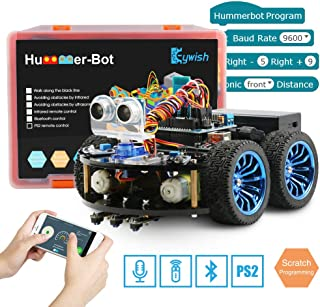 Keywish Smart Robot Car Kit for Arduino Hummer-Bot V1.0 DIY Learning Kit,4WD Remote Control Car with UNO R3,Tutorial,Bluetooth Modules,Line Tracking,Ultrasonic Sensors Gift Kid,Support Scratch Library