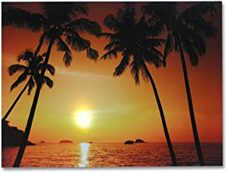 BANBERRY DESIGNS Beach Sunset - LED Canvas Print - Light Up Wall Decoration - Tropical Ocean Sunset with Palm Trees - 12x16 Inch