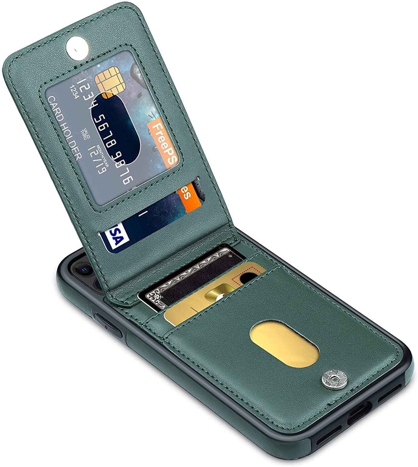 LakiBeibi Phone Case for iPhone 11 Dual Layer Lightweight Premium Leather iPhone 11 Wallet Case with Card Slot Magnetic Lock Folio Flip Protective Case for iPhone 11 6.1 Inches (2019), Dark Green