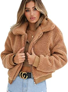 Gogoboi Fashion Women Warm Lapel Faux Fur Coat Fleece Shearling Jacket with Pockets for Winter