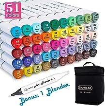 Shuttle Art 51 Colors Dual Tip Alcohol Based Art Markers, 50 Colors plus 1 Blender..