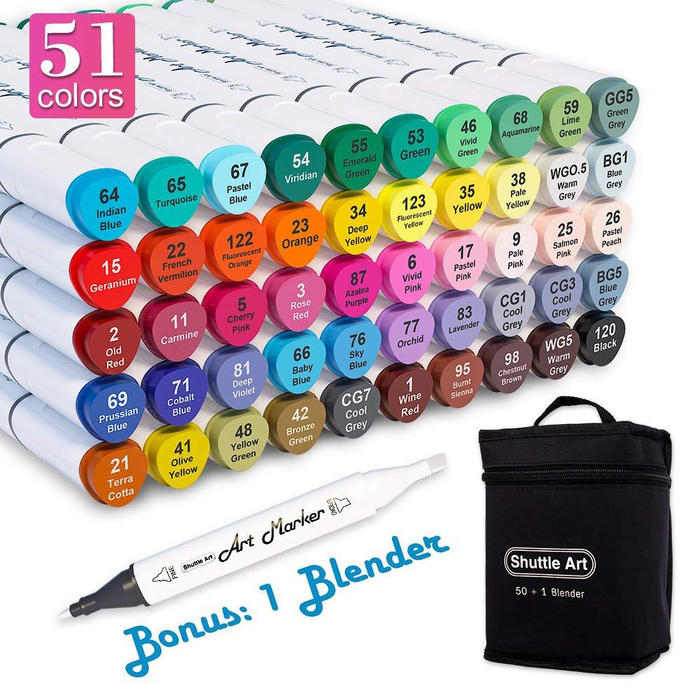 셔틀 아트 51색 듀얼 유성 마커 펜 세트 (+1무색 블렌더+전용 케이스 증정) Shuttle Art 51 Colors Dual Tip Alcohol Based Art Markers