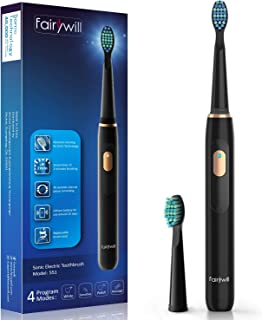 Electric Toothbrush Clean as Dentist Rechargeable Sonic Toothbrush with Smart Timer 4 Hours Charge Minimum 30 Days Use 4 Optional Modes Whitening Toothbrushes for Adults with 2 Brush Heads Black