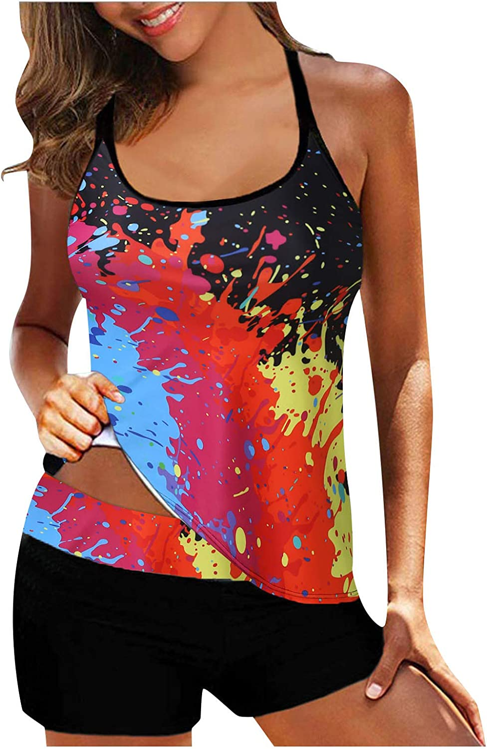Beppter Tankini Swimsuits for Womens Tankini Top Boyshorts Two Piece Swimsuits Sports Bathing Suit Tank Top and Shorts