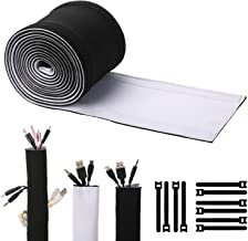 Cable Management Sleeves, ENVEL Neoprene Cord Organizer with Free Nylon for TV USB PC Computer Network Wires (118 inches) DIY by Yourself, Adjustable Black and White Reversible Wire Hider