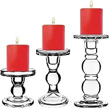 """CYS EXCEL Conjunto de suporte de vela de vidro de 3 (D-3"""" H-3,5""""   5,5""""   7,5"""")   Várias opções de tamanhos, suportes de v..."""