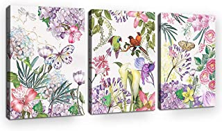 Botanical Flower Wall Art Tropical Plants Butterfly Bird Watercolor Picture Prints Wall Decor Canvas Prints Simple Fresh Style Framed Ready to Hang for Office Home Decoration 12