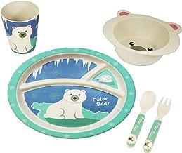 EcoBamboo Ware Kids Bamboo Dinnerware Set with Tumbler, Pettie The Polar Bear