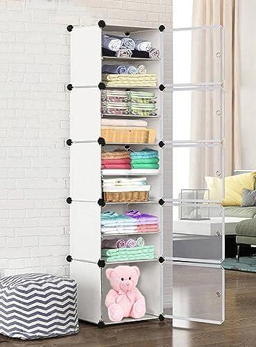 Oumffy DIY Plastic 10 Shelve Baby Wardrobe, Foldable, Collapsible Fabric Wardrobe Organizer for Clothes (10-Shelve-Do...