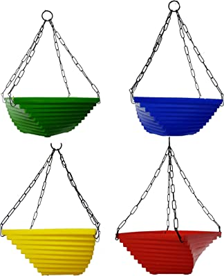 Russian Plastic Hanging Planter,Flower Pots Yellow,Blue,Green and Red