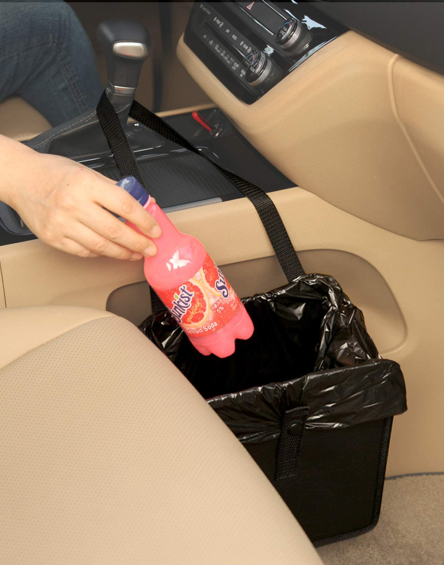 KMMOTORS Foldable Car Garbage Can Patented Car Waste Basket Comfortable Multifuntional Artificial Leather and Oxford Clothes Car Organizer Car Trash Can (Jopps_Medium 1pc)
