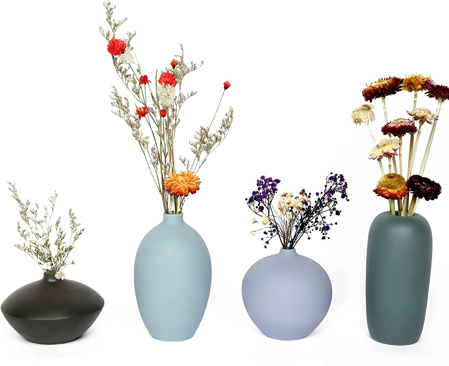 Exqelf Max 70% OFF Small Ceramic Vase Decorative Set Louisville-Jefferson County Mall Bud Flower Vases 4 of