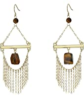 French Connection - French Wire Trapeze Link with Chain Fringe and Tigerseye Chandelier Earrings